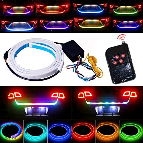 Tail Light, JAYEJA 5 Function 12 Driving Modes Remote Control Flexible Car Tail Trunk Brake Reversing Turn Signal Light Lamp 5050 Led Running Signal Light Car Flowing Warning Light ()