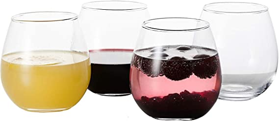 GoodGlassware Stemless Wine Glasses (Set Of 4) 15 oz - Crystal Clear Clarity