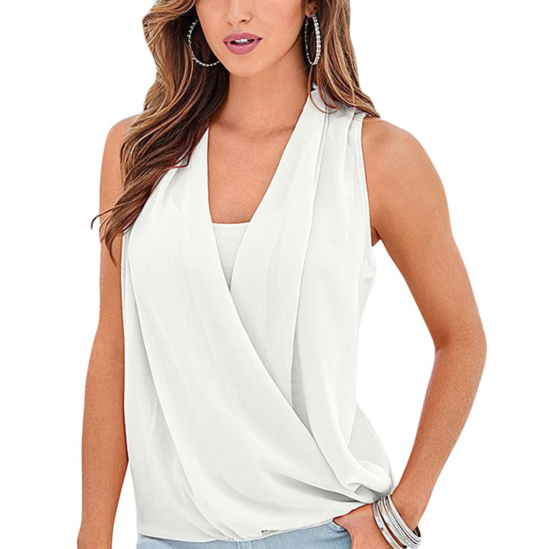 2100c1bbe14c3 iShine Sexy Women s Sleeveless Wrap Front Chiffon Tank Tops V Neck  Crossover Blouses  Amazon.co.uk  Clothing