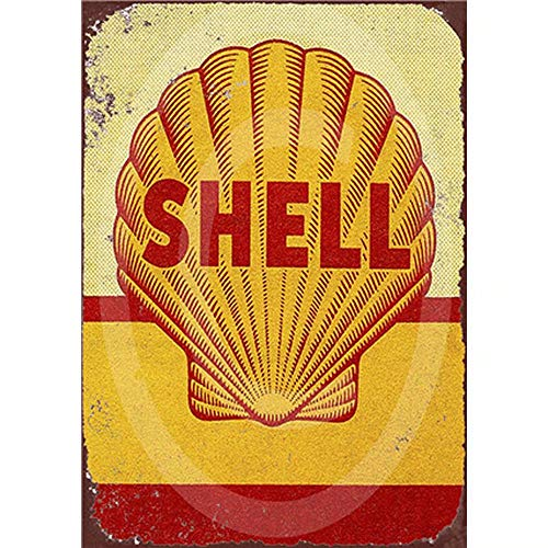 Shell Gas Oil - FlowerBeads Motor Oil Plaque Vintage Metal Tin Signs,Golden Shell Home Bar Pub Garage Gas Station Decorative Iron Plates Art Poster