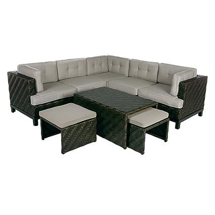 AE Outdoor Rachel 8 Piece Sectional Sofa With Sunbrella Cushions