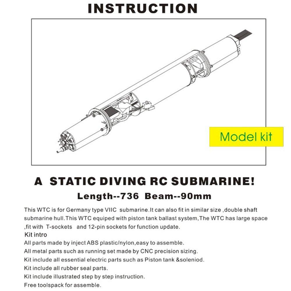 ARKMODEL WTC Kit Single Pump Tank Wasserflasche für für für deutsche U-Stiefel VIIC 1 48 U-Stiefel Einschließlich BCU, ESC, SERVOS W7603GPK 0daf20
