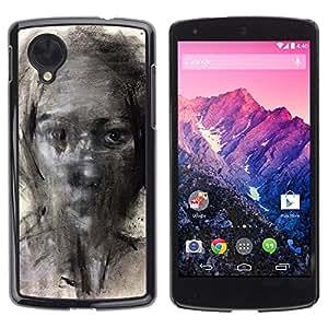 Caucho caso de Shell duro de la cubierta de accesorios de protección BY RAYDREAMMM - LG Google Nexus 5 D820 D821 - Painting Pencil Art Woman