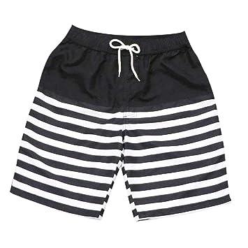 HMKYYJ Pantalones Cortos de Playa Casual a Rayas Blancas Negras ...