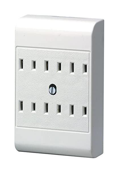 leviton 49687-w 15 amp, 125 volt, 2-wire, 6-outlet adapter, white -  electrical multi outlets - amazon com