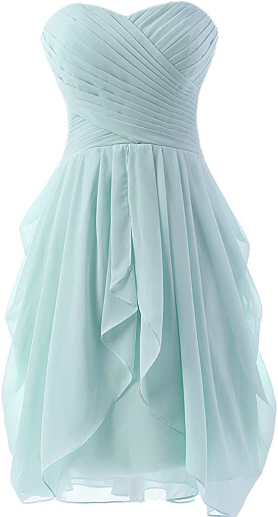 Debbies Bridal Sweetheart Ruffle Short Chiffon Bridesmaid Dress