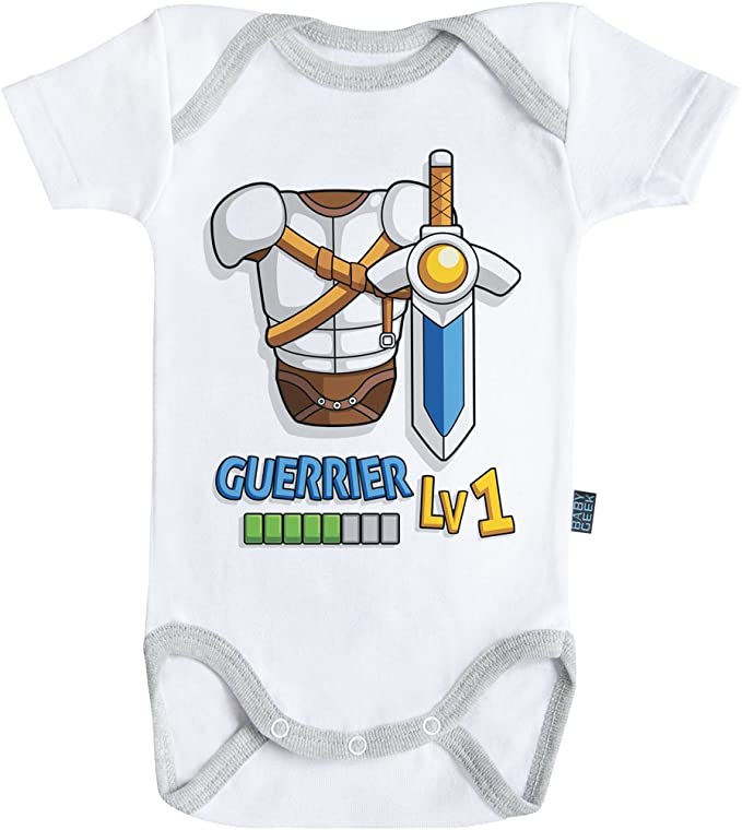 Coutures grises Parent Blanc Baby Geek Mage Body B/éb/é manches courtes Coton
