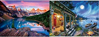 product image for Buffalo Games - Reflections - Mountains on Fire - 750 Piece Jigsaw Puzzle & Darrell Bush - Moonlight Lodge - 1000 Piece Jigsaw Puzzle