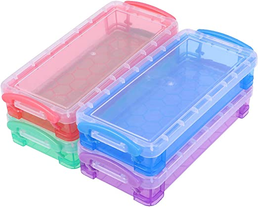 NUOBESTY 4pcs Transparent Pencil Case Plastic Pencil Box Storage Case Stationery Supplies for School Office (Random Color): Amazon.es: Hogar