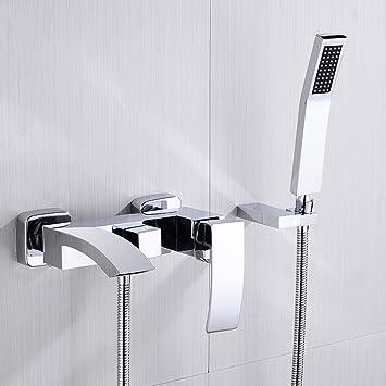 4cff34922b844b Jinyuze moderne laiton Robinets de baignoire cascade avec douchette à  fixation murale Mitigeur de baignoire de