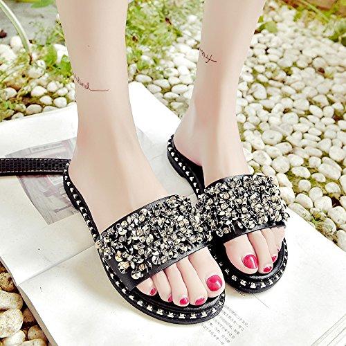 RUGAI-UE Zapatillas mujer del Fondo plano Diamante Anti-Skid zapatillas Moda Mujer Cool zapatillas zapatos de mujer Black