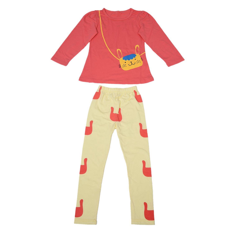 SODIAL(R)) Ragazze insiemi dei vestiti dei capretti la camicia di seta delle ragazze stabilite di autunno di estate 2pz ha regolato i bambini che coprono i vestiti di rosso rosa 3T (100CM)