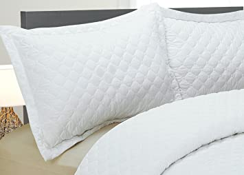 Natural Comfort Luxury Lines Microfiber Quilted Bedding Set, King, White