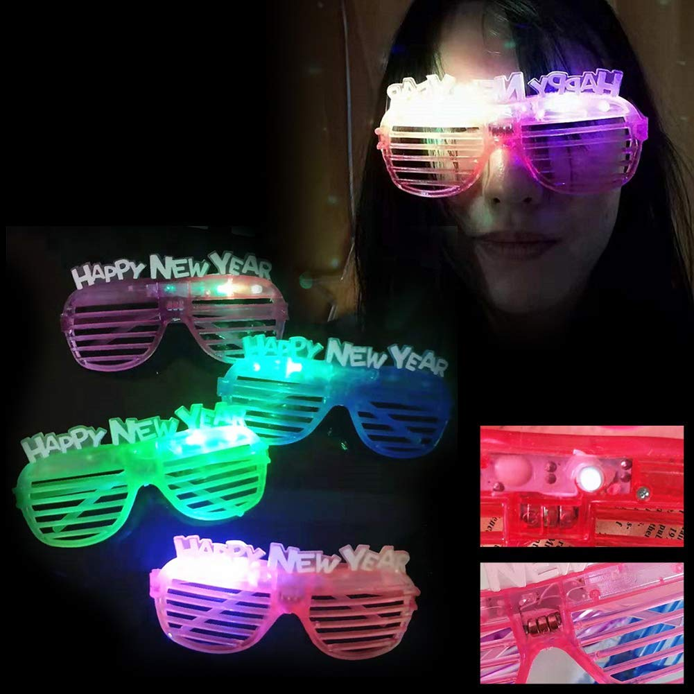 Yevison Fashion LED Light Up Shutters Hollow Glasses 2019 Number Happy New Year Kid Gift Random Color High Quality