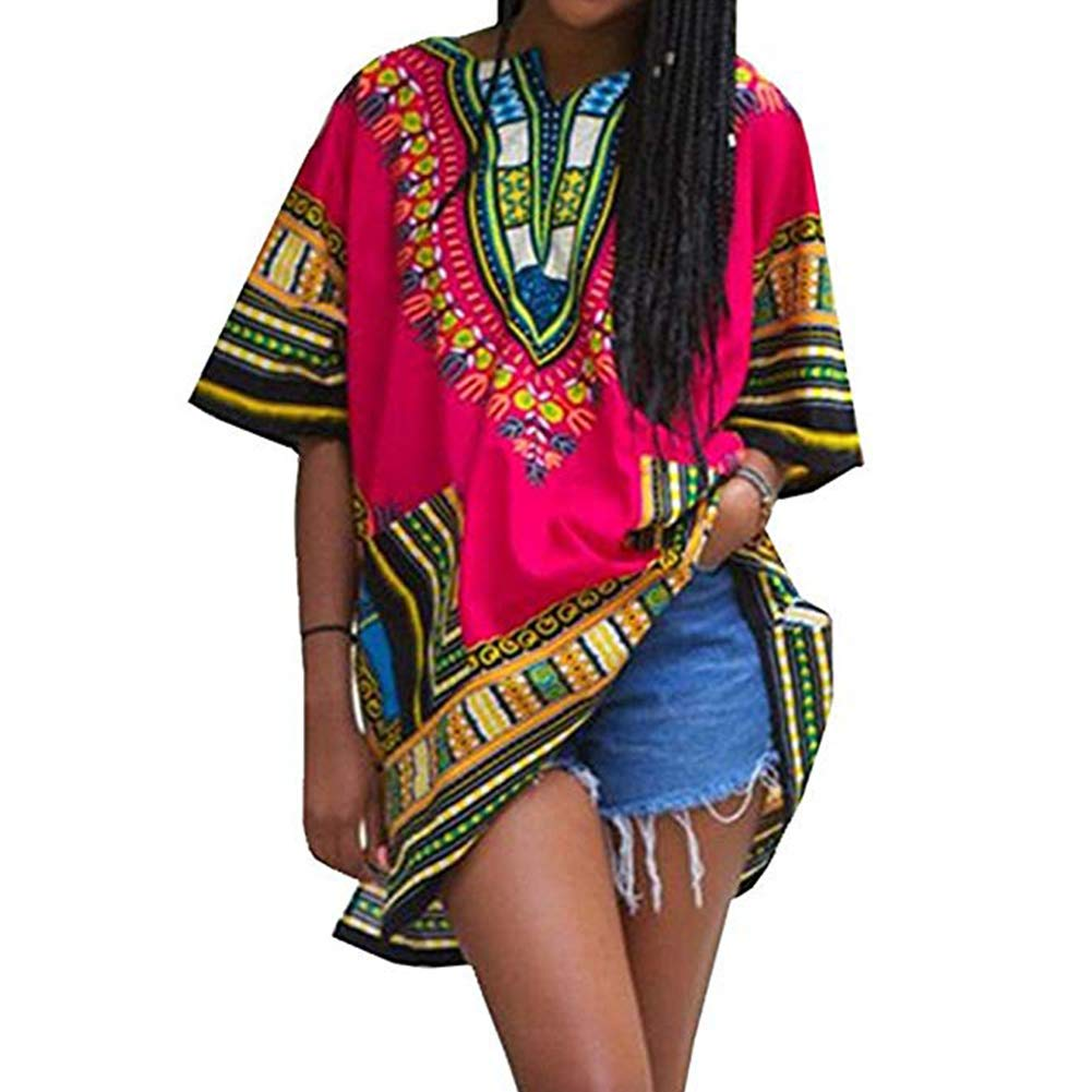 Unisex Fashion Women' s Vintage Loose Short Sleeve Dashiki African Dresses Shirt SITENG5616