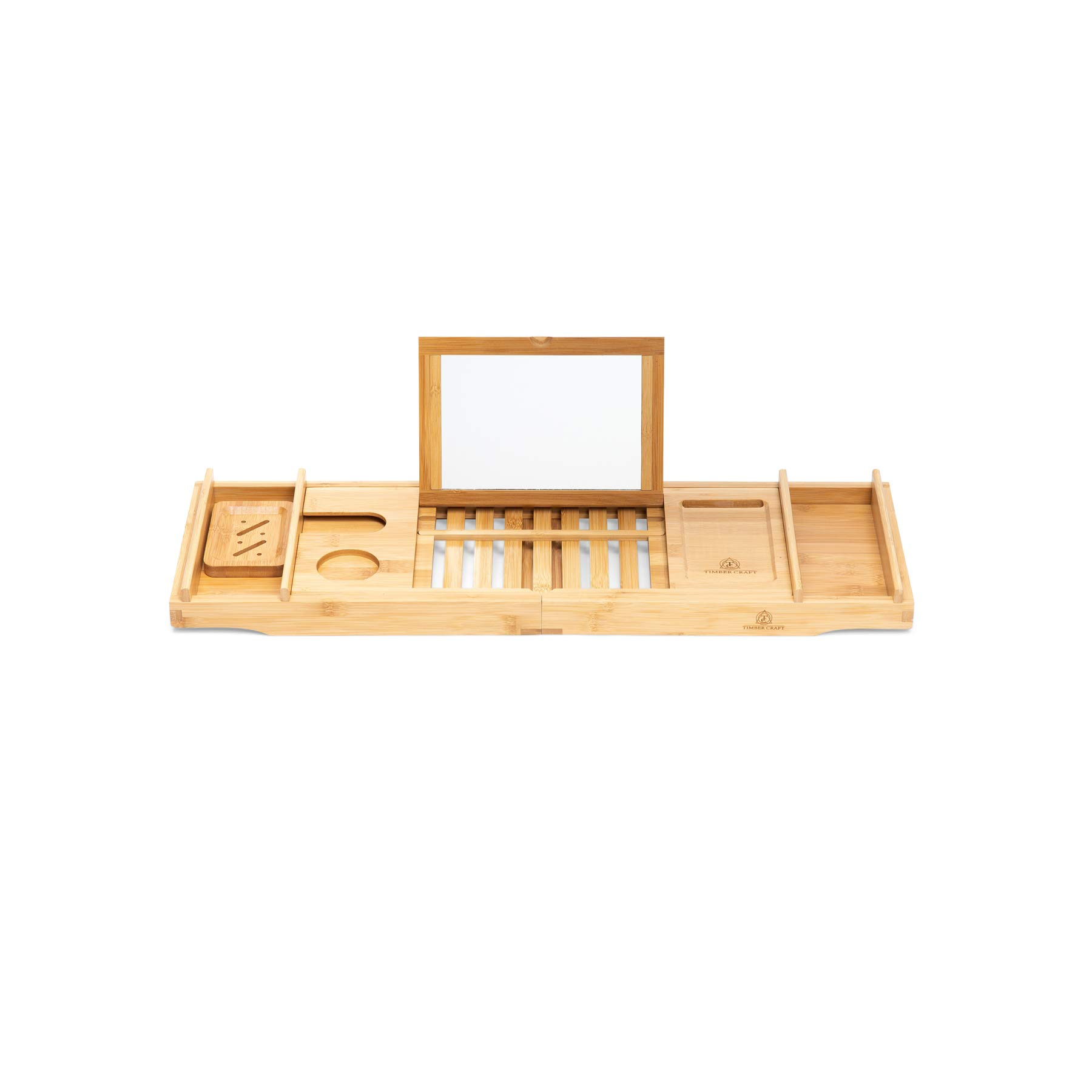 Timbercraft Premium Bamboo Bathtub Caddy Tray with Mirror & Free Soap Dish - Supreme Luxury - Water & Mildew Resistant by Timbercraft (Image #3)
