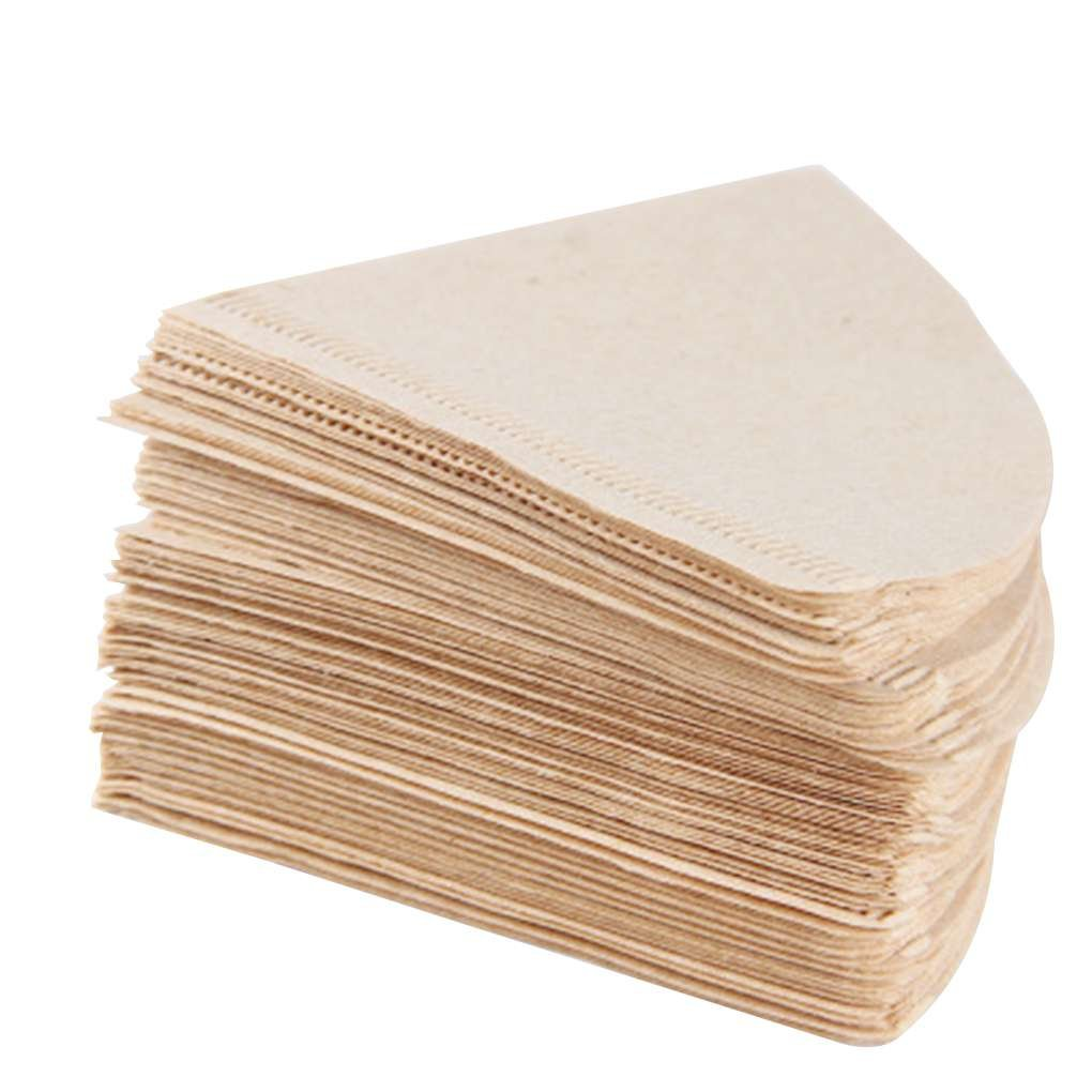 fish 100PCS Caffè Carte da filtro non sbiancata di legno a goccia cono di carta caffè forma Tools