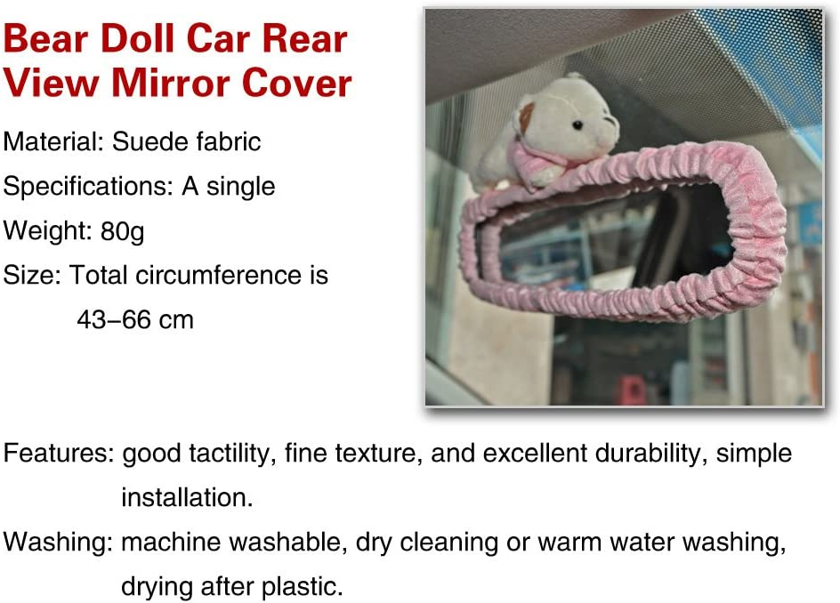 Automobiles Rearview Mirror Hanging Decoration Covers Bear - Beige Color Tianmei Cute Cartoon Bear Doll Styling Car Interior Suede Rear View Mirror Cover Ornaments