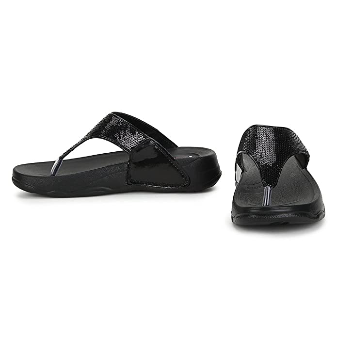 74fd25e385 Welcome Pure Hf-06 Synthetic Black Flip Flops For Women: Buy Online at Low  Prices in India - Amazon.in