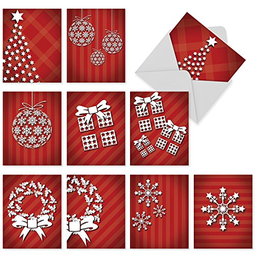 M6011 Holiday Dimensions: 10 Assorted Blank Christmas Note Cards Featuring Updated Designs Of Iconic Seasonal Images,w/White Envelopes.