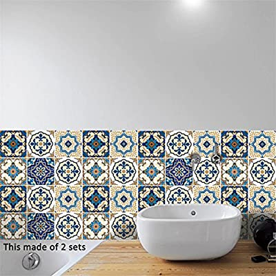 AmazingWall Moroccan Style Faux Tiles Sticker Home Decoration Kitchen Bathroom Wall Decor Art Decal Mural Self Adhesive 5.91x5.91 10 Pcs