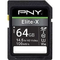 PNY 64GB Elite-X Class 10 U3 V30 SDXC Flash Memory Card, Read Speeds up to 100MB/S (P-SD64GU3100EX-GE)