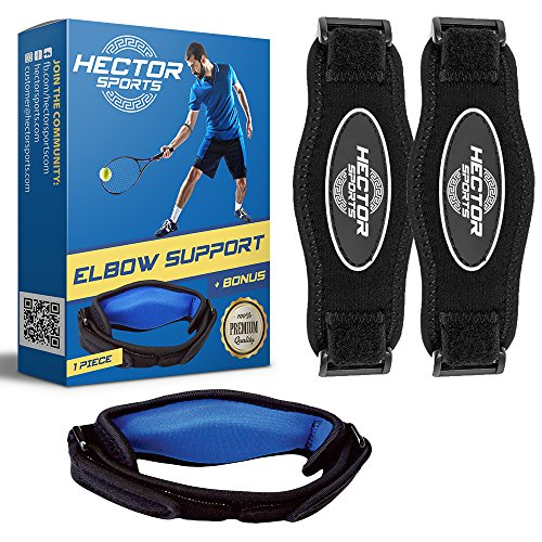Tennis Elbow Brace-2 Count-blue, With Bonus Carry Bag, Tennis & Golfer's Elbow Pain Relief by Hector Sports - Bandit Arm Brace