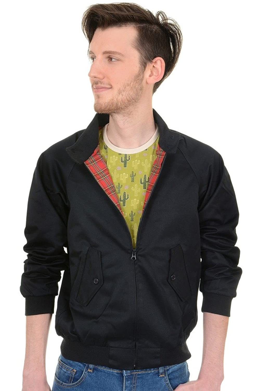Men's Vintage Style Coats and Jackets Mens Run & Fly 60s Retro Mod Navy Harrington Jacket $49.95 AT vintagedancer.com