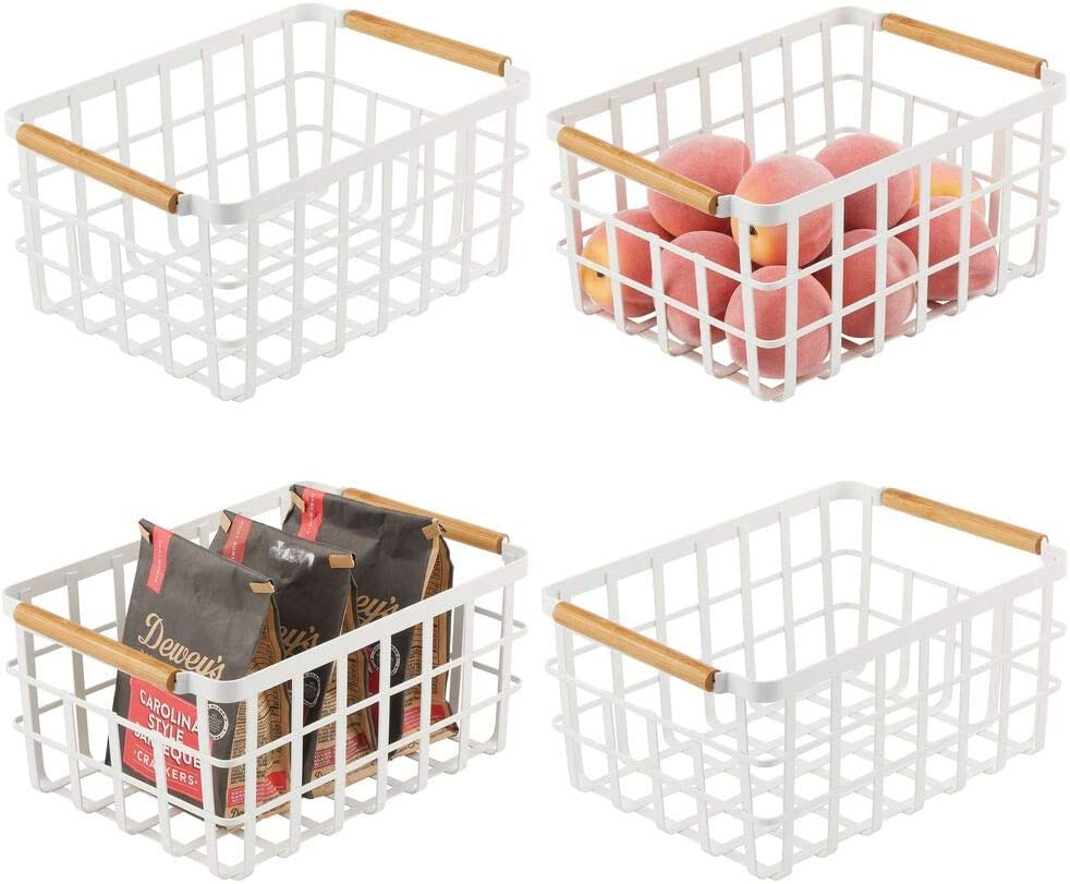 mDesign Farmhouse Decor Metal Wire Food Organizer Storage Bin Baskets with Bamboo Handles for Kitchen Cabinets/Pantry - Store Fruit, Coffee, Spices, Pasta, Baking Supplies, 4 Pack - Matte White/Bamboo