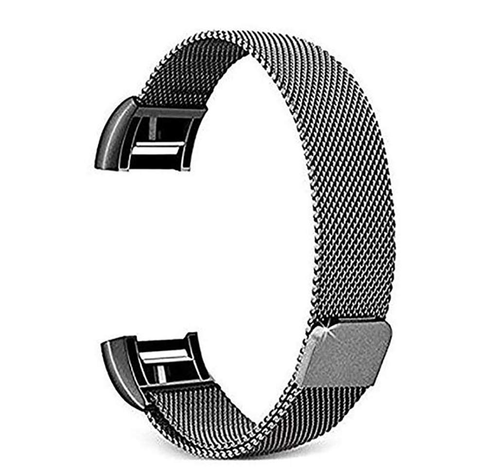 for Fitbit Charge 2 Band –Erencook Stainless Steel Magnet Metal Replacement Bracelet Strap for Women Men (L, Black)