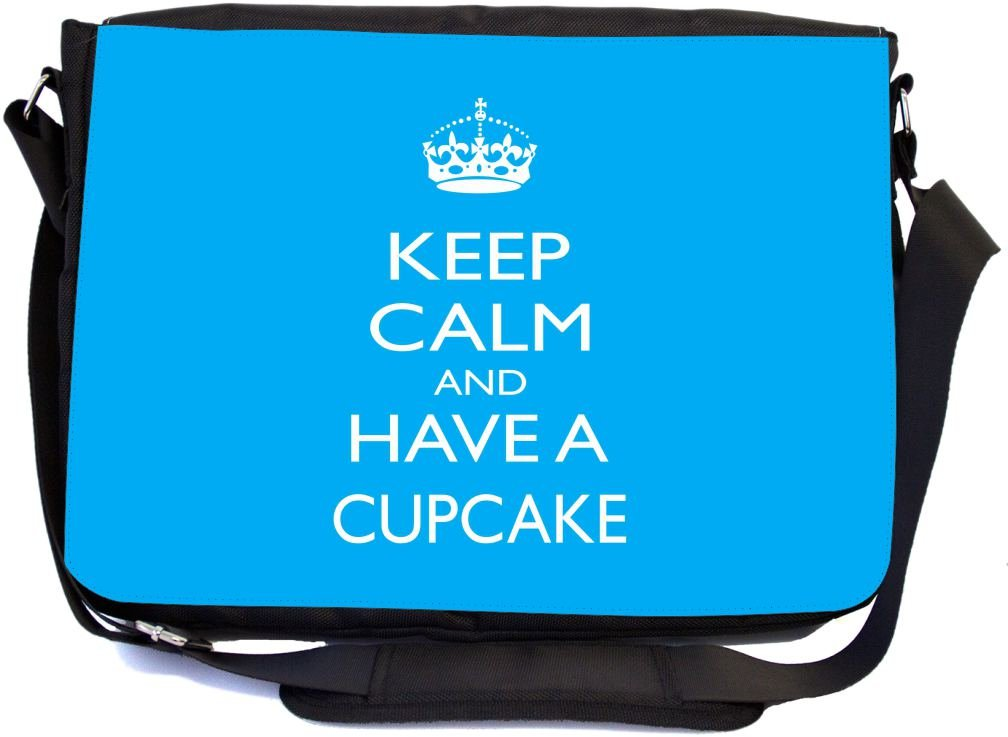 Rikki Knight Keep Calm and Have a Cupcake Sky Blue Color Design Multifunctional Messenger Bag - School Bag - Laptop Bag - with Padded Insert for School or Work - Includes Matching Compact Mirror
