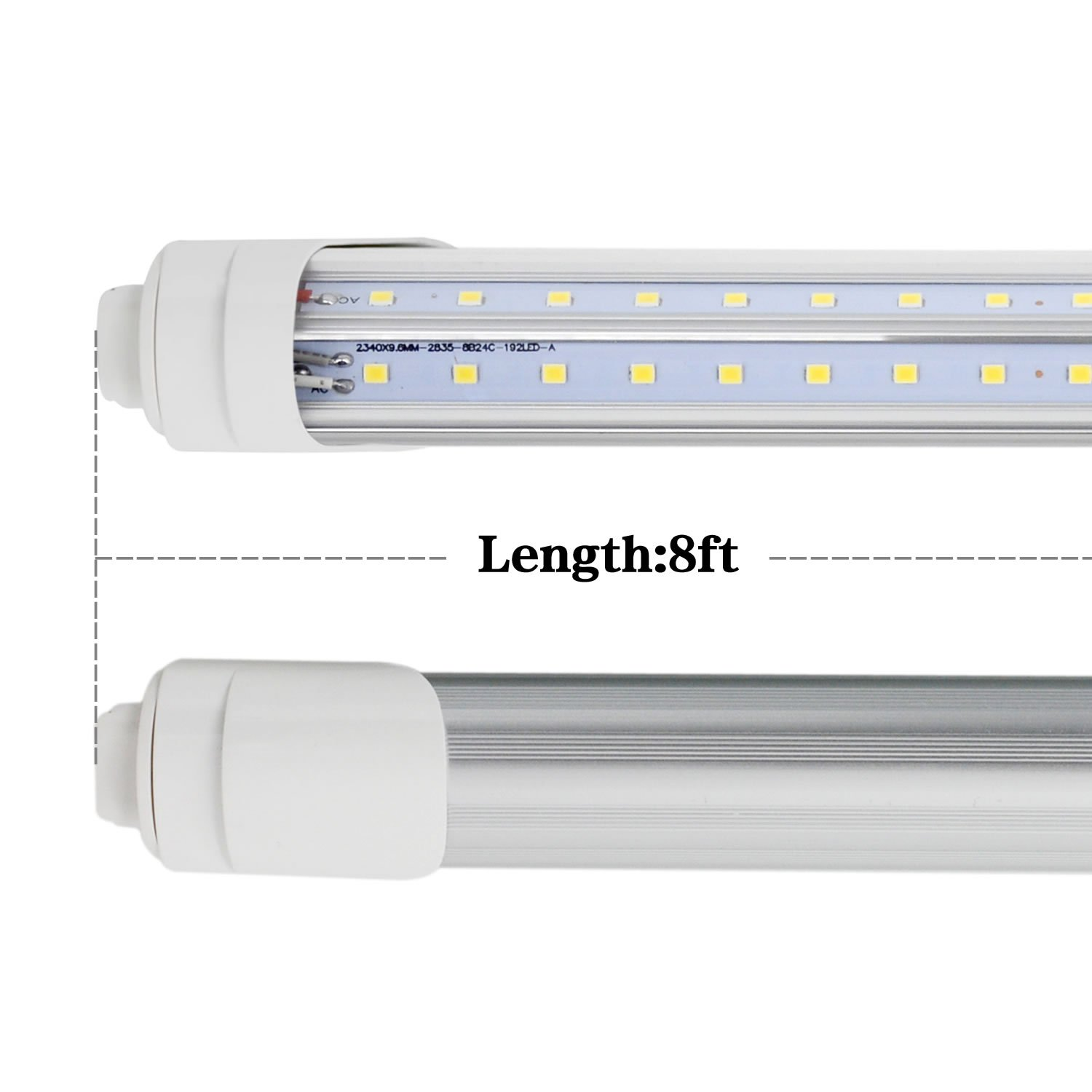R17d 8 Foot Led Bulbs T8 T10 F96t12 8ft Cw Ho Tube Light Wiring Diagram Dual Fixture 96 V Shaped Fluorescent Replacement 72w 7200 Lumens 6000k Double Ended Power