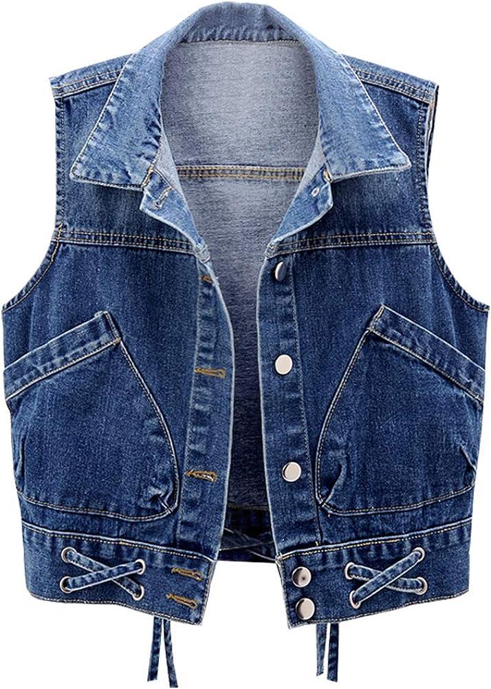 Cropped Ladies Waistcoat 70/'s Blue Denim Vest Lapel Imitation Waist Coat Sleeveless Jeans Button Up Top Medium M