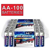 ACDelco AA Super Alkaline Batteries en paquete que se puede volver a cerrar, 100 conteos