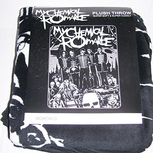 "Price comparison product image My Chemical Romance GROUP Black Skellingtons Black Parade Plush Throw Blanket 48""x60"""