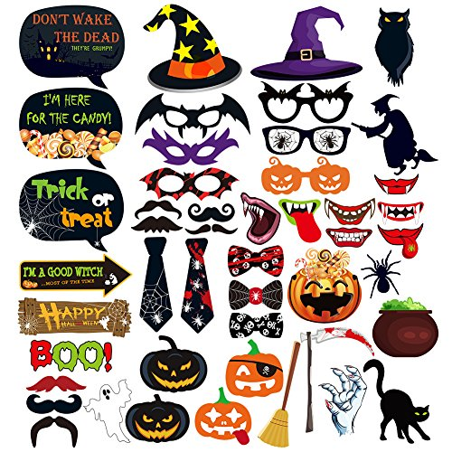 Halloween Photo Booth Props 47 Pieces DIY Kit Funny Photo (Halloween Props Diy)