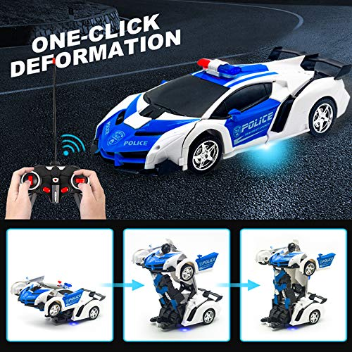 Remote Control Transforming Police Car Toy for Kids Boys Girls Gifts - 1:18 Scale RC Transforming Ca - http://coolthings.us