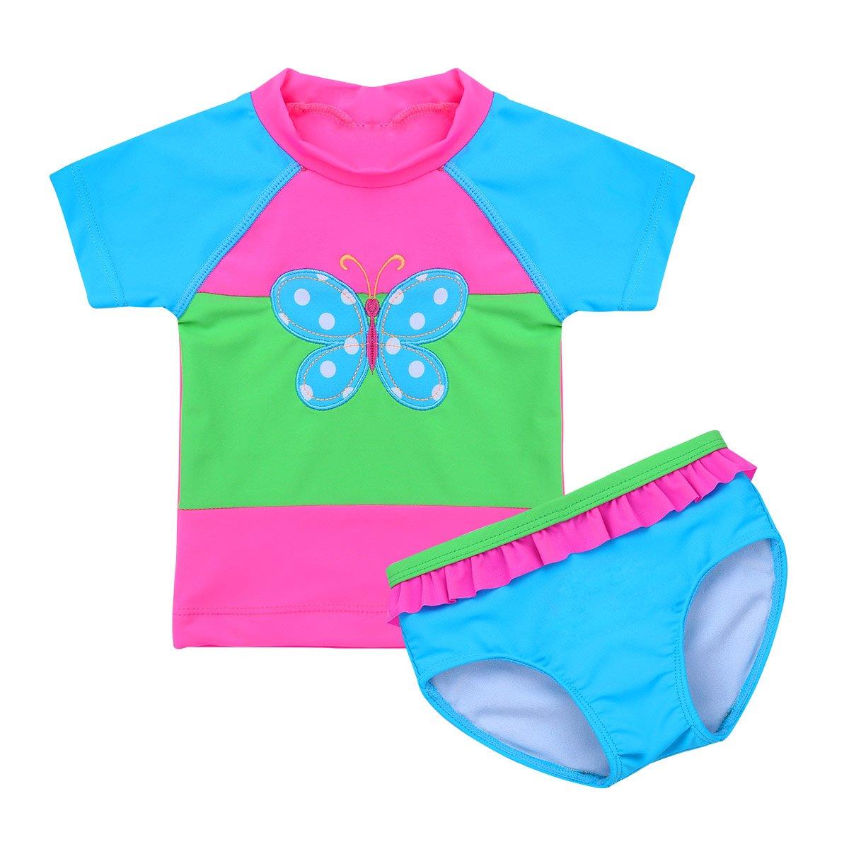 iEFiEL 2PCS Baby Girl Butterfly Swimsuit Swimwear Bathing Suit Toddler Kid Short Sleeves Rash Guard Bikini Set UPF 50+ UV