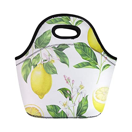 3473ba4fa3ef Amazon.com: Semtomn Lunch Tote Bag Green Lime Lemon Pattern on ...