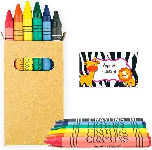 Lote de 30 Cajas Kraft ventanilla con 6 Ceras de Colores Cada cajita. Regalos para cumpleaños y Eventos Infantiles.: Amazon.es: Juguetes y juegos
