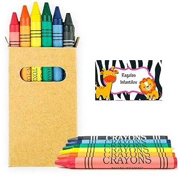 Lote de 10 Cajas Kraft con Ventana con 6 Ceras para Colorear. Regalos para cumpleaños y Eventos Infantiles.