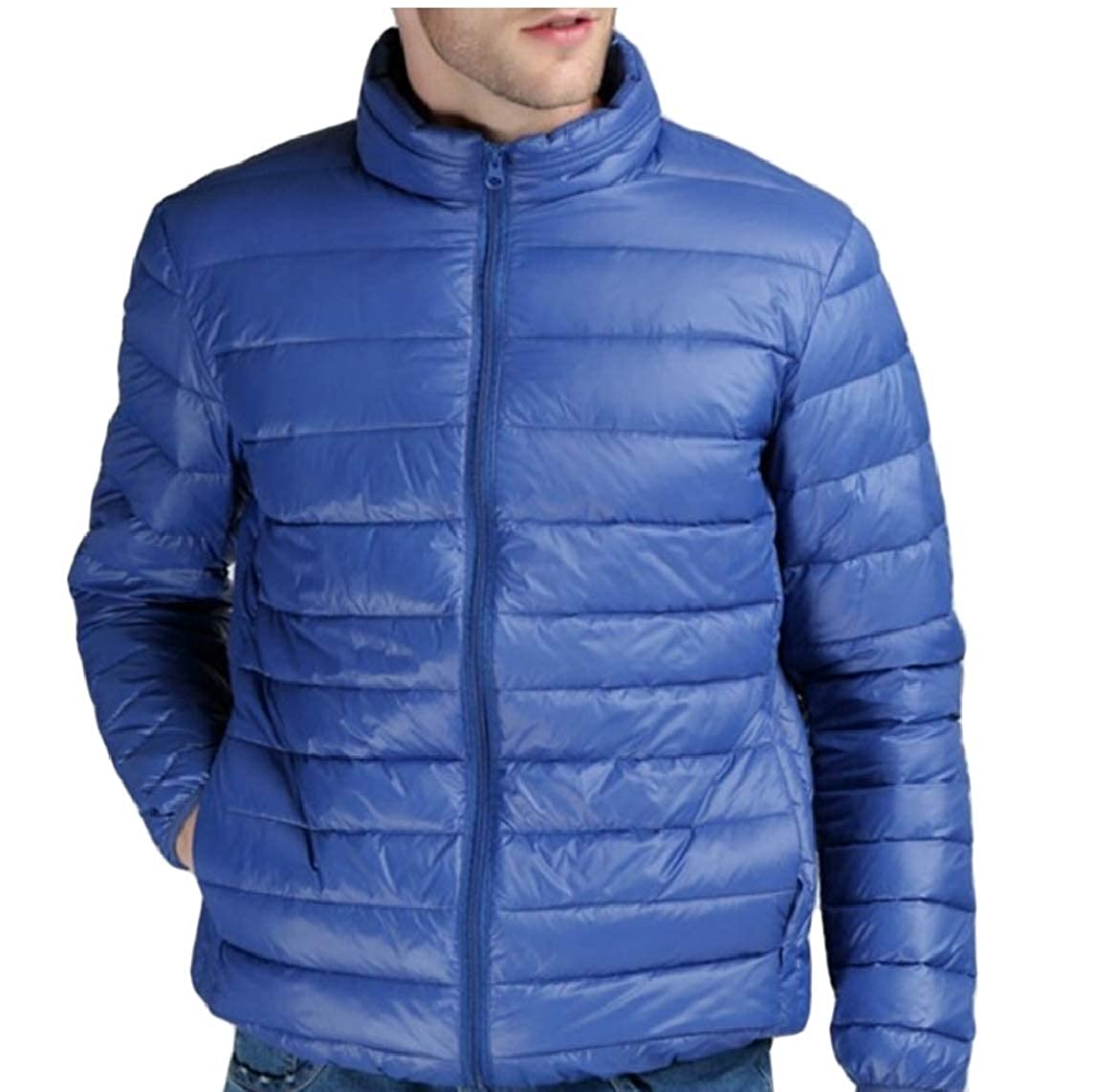 ouxiuli Men Ultra Light Weight Casual Jackets Stand Collar Puffer Down Coat