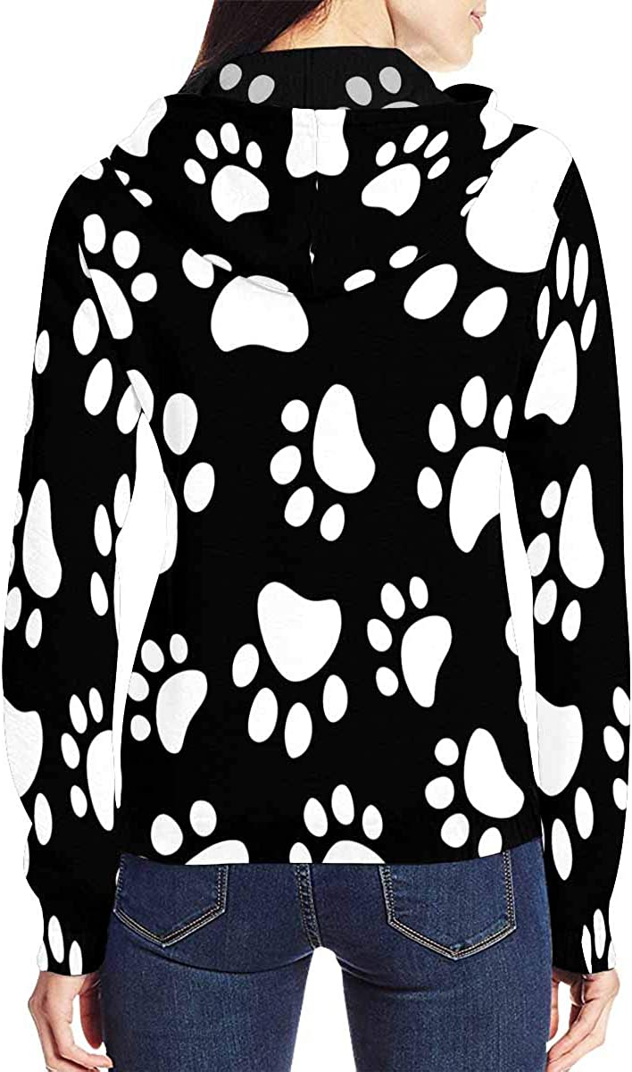 INTERESTPRINT Womens Paw Footprints Dog Cat Jacket Outwear