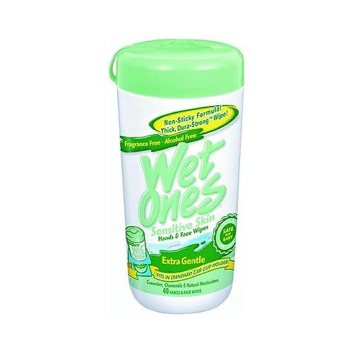 Wet Ones Sensitive Skin Extra Gentle Hand Wipes, Hypoallergenic, 40 Ea