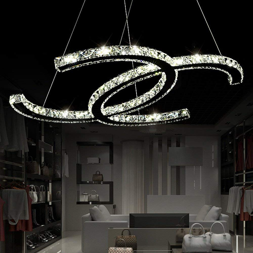 28W LED Pendelleuchte Modern K9 Hängeleuchte Kreativ Deckenleuchte Verstellbar Glas Zimmer Beleuchtung Leuchte für Flur Wohnzimmer Esstischlampe Schlafzimmer Loft Küchenleuchte, Weißes Licht