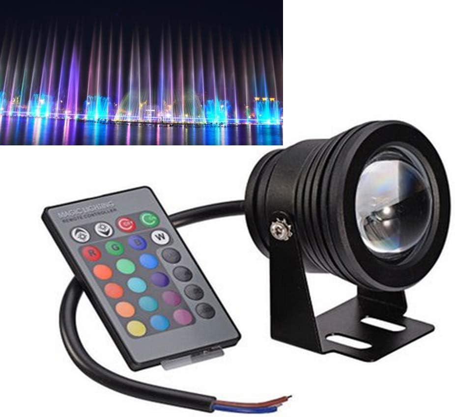 OSALADI Cambio de Color bajo el Agua 10 W Mando a Distancia L/ámpara LED para pozos