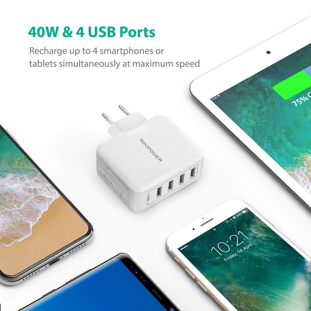 2.4A USB Wall Charger Netzteil mit iSmart Technologie f/ür iPhone X XS XR XS Max 8 7 6 Plus HTC usw Galaxy S9 S8 Plus RAVPower USB Ladeger/ät 4-Port 40W Ladeadapter LG iPad Pro Air Mini Huawei