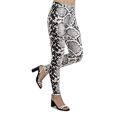 Aventy Women's Snakeskin Leopard Printed Leggings Full-Length Workout Pants Stretchy Ankle Elastic Tights Leggings (Snake Pattern-8, One Size) at Women's Clothing store
