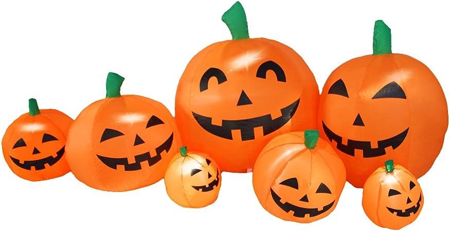 Amazon De Jf Deco 2 1m Aufblasbar Halloween Dekoration Kurbis Patch Familie Laterne Aufblasbare