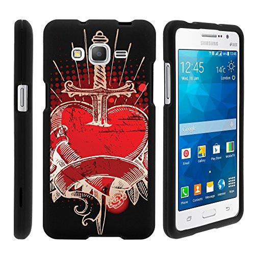 MINITURTLE Case Compatible w/ Samsung Galaxy Grand Prime Case, Slim Fit Snap On Cover w/ Unique, Customized Design for Samsung Galaxy Grand Prime SMG530H, SMG530F Pierced Heart